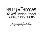 Custom Return Address Stamp with handwriting font and heart. Mounted with Handle or Self-Inking Return Address Stamp (20385) 2 1/2 x 1