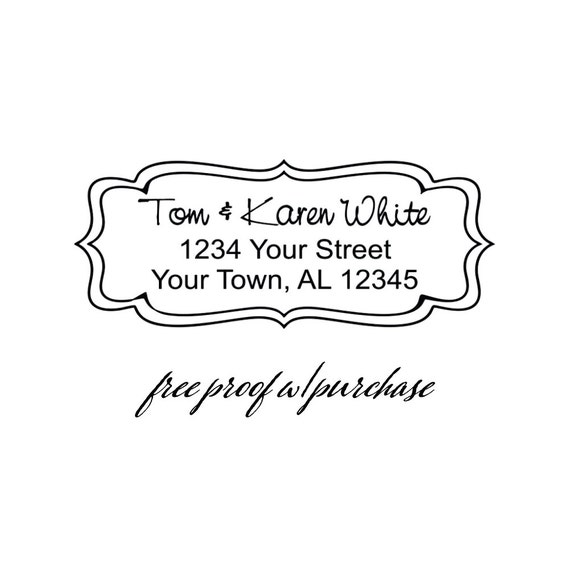 Custom Return Address Stamp with Double Scalloped Border.   Mounted with a Handle or Self-Inking Return Address Stamp  (20261)
