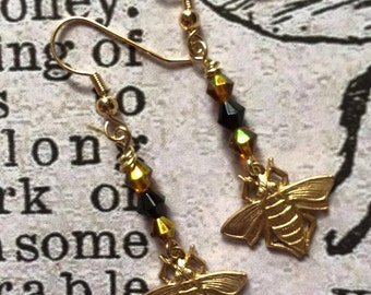 Brass Bumble Bee Dangle Earrings with Black and Yellow Crystals