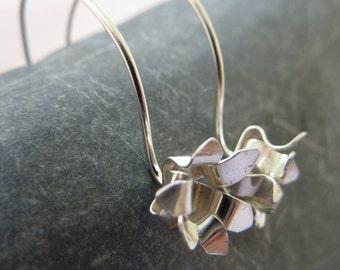 Chrysanthemum flower drop earrings: Handmade sterling silver