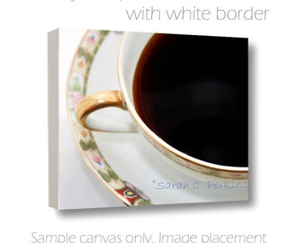 Coffee Wall Art-Still Life Photography-Kitchen Wall Decor-Fine Art Photography-Square Canvas Wrap-China Tea Cup 8x8/10x10/12x12/16x16/20x20