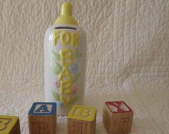 Vintage Ceramic Baby Bottle Bank - Very Cute and Sweet Too