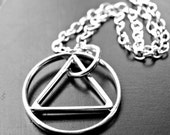 Sterling Silver Recovery Necklace Circle in Triangle AA Symbol