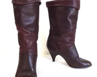 Vintage Leather High Heel Boots Oxblood  / Maroon 5.5