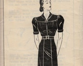 1930's Day Frock Pattern  Mail Order YOUR PATTERN  # 8339 Today's Pattern Bureau, NY  Vintage Dress Pattern   Uncut, Factory-folded  Bust 36