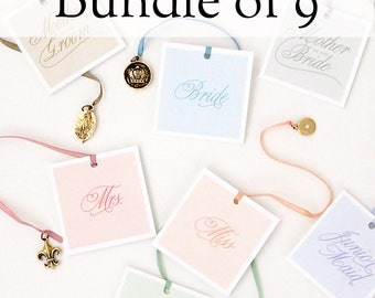 Bridesmaid Jewelry Gift - 9 Gold Charm and Bracelets