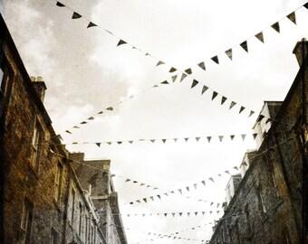Rose Street Edinburgh Rustic Sepia Scotland Art Photograph - Free Shipping in US -