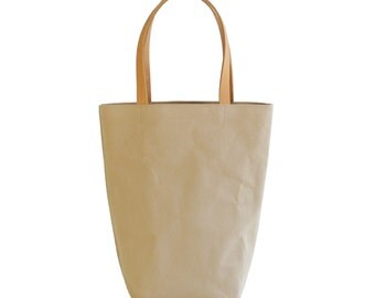Beige Tan Canvas Cotton Day Tote  with Bridle Leather Straps