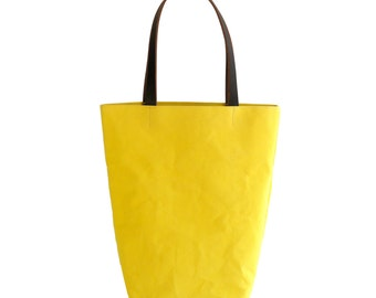 Canary Yellow Canvas Cotton Day Tote  with Bridle Leather Straps