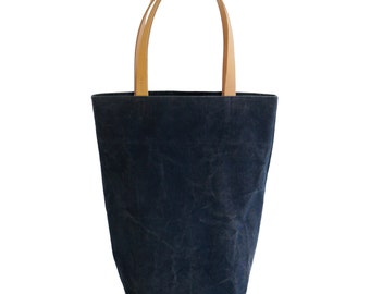 Navy Blue Canvas Cotton Day Tote  with Bridle Leather Straps