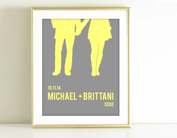 Personalized Wedding Gift - Couples Silhouette - Yellow and Gray Home Decor, Couple Portrait, Wedding Shower Gift