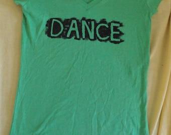 DANCE  hand stenciled green v neck t shirt