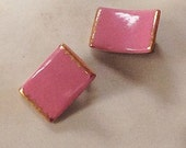 Rare Signed Milvern Earrings - 60s  Painted Porcelain Clip Earring