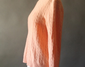 Vintage 90's Pastel Peach Cashmere Cable Knit Pullover Sweater by Lauren Ralph Lauren