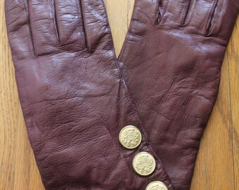 Vintage 80's Burgundy Merlot Leather Fleece Lined Gloves with Gold Button Embellishment by Carolina Amato