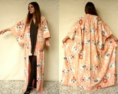 Vintage Full Length Cherry Blossom Pattern Deco Kimono Robe Duster Jacket