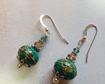 Artisan Lampwork Beads in Green with Golden Circles, Swarovski Crystal, Sterling Silver Earrings  ES1801