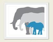 Elephant Art Print / Nursery Elephant Art Print / Blue and Gray Nursery Decor / Mother Father and Baby Elephant Print /