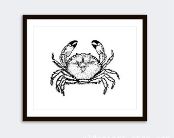 Crab Art Print  / Black Crab Wall Art / Modern Vintage Nautical Home Decor / Crab Kitchen Print / Crab Bathroom Print / Aldari Art