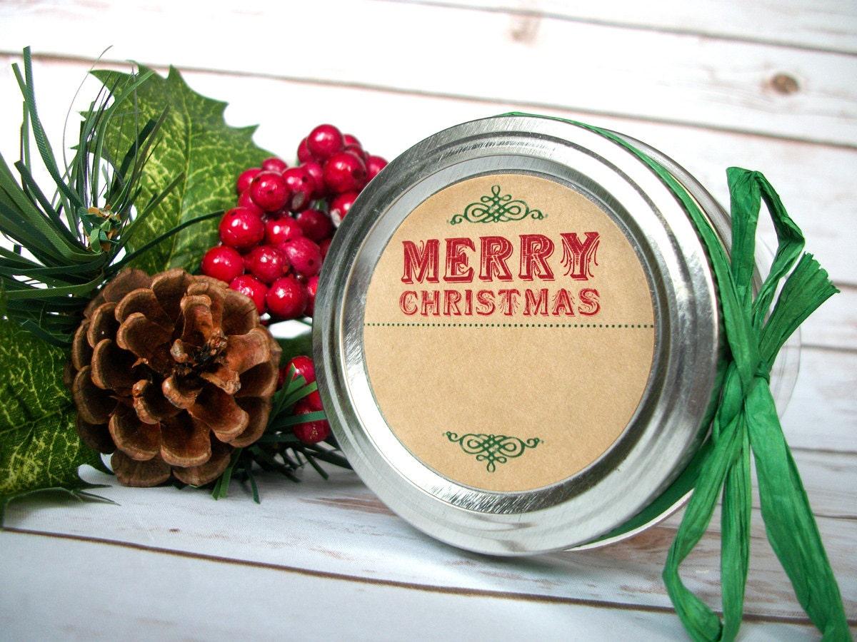 KRAFT Blank Christmas canning jar labels round retro