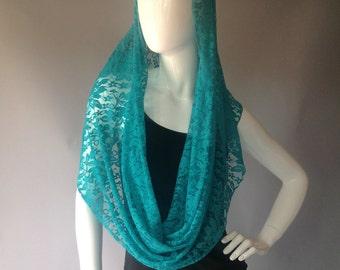 Aqua Floral Lace Infinity Scarf, wrap, shawl, bolero
