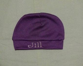 Purple plum baby knit beanie baby girl newborn baby cap beanie cap newborn hat personalized baby hat