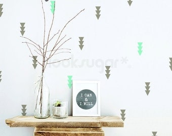 Triple Triangle Wall Decal . Triple Triangle Decal with Wallpaper or Wall Stencil Effect - Baby Nursery Decal- LSWP-AP0045NF