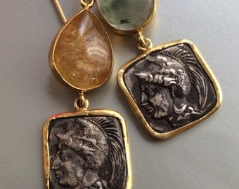 FREE SHIPPING  Roman Coin Earring antique ancient replica inspired sterling tourmaline 22 carat gold