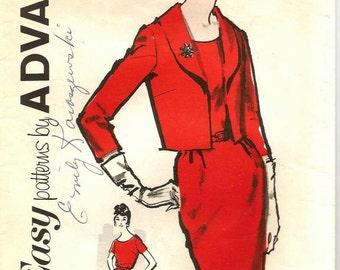1950s Sheath Dress Slim Dress Scoop Neck Short Sleeves Open Jacket Three Quarter Sleeve Advance 2732 Bust 43 Women's Vintage Sewing Patterns