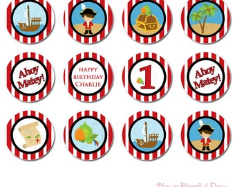 PRINTABLE Boy Pirate Party Circles (Personalized) #569