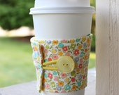 Reusable Coffee Sleeve - Vintage Inspired Sweet Floral Cup Cozy - Yellow and Pink Pastel Flowers Cup Sleeve - Coffee Lover Gift Shower Favor