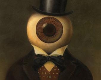 Eyeball Print - Eyeball Portrait - Halloween - Sci Fi Print - Eyeball Headed Man - Victorian Science Fiction - Steampunk -
