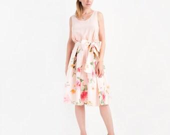 Floral Print Silk Midi Skirt // Full Skirts for Women // Light Pink Skirt