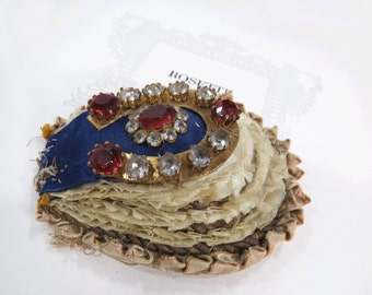 Antique Ribbon Work Applique - Clear Crystal & Red Rhinestones on Metal Horseshoe - Millinery, Embellishment