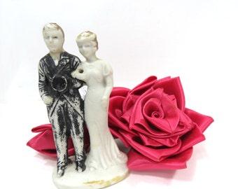 1930s Bisque Bride & Groom Wedding Cake Topper, Art Deco Era Wedding Decor