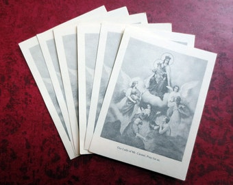 6 Our Lady of Mt. Carmel Prayer Cards, 1960s Vintage