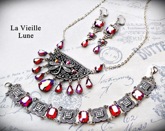 Ruby Victorian Jewelry Set, 3 Piece Red Jewel Necklace, Bracelet, and Earrings, Victorian Jewelry