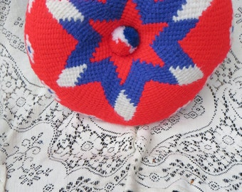 Patriotic Vintage Crocheted Pillow Red White and Blue with Star Round Button Pillow