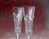 Wedding Champagne Glasses Flute Toasting Hand Painted set of 2