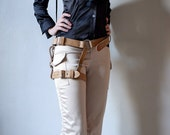 Unisex Thigh Harness - Natural - steampunk - festival - burning man - apocalypse - mad max, Please read Description for size