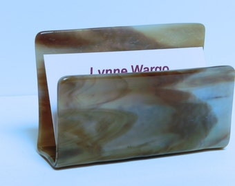 Business Card Holder, Blue-Grey and Brown Streaky Glass