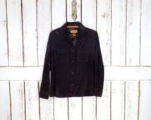 Vintage dark  brown suede leather button down shirt jacket/boho suede cardigan cover up top