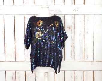 Vintage iridescent black/gold beaded sequins short sleeve floral top/beaded evening formal blouse/sequin top/large/xlarge