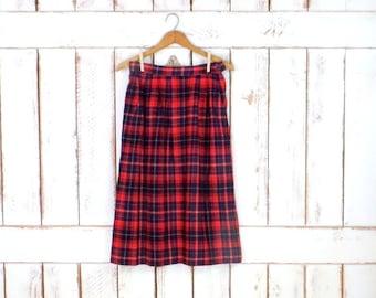Vintage red wool plaid Pendleton high waisted pencil skirt/tartan wool midi skirt/small/medium