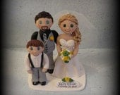Wedding Cake Topper, Custom Cake Topper, Bride and Groom with Little Boy, Personalized, Polymer Clay Keepsake