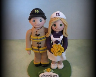 Wedding Cake Topper, Fireman and Nurse, Firefighter, Polymer Clay, Customized Wedding/Anniversary Keepsake