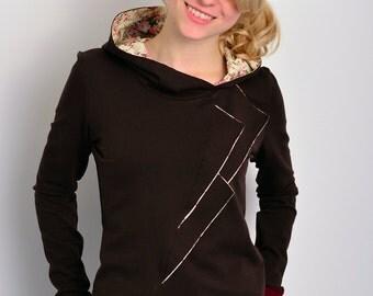 jersey hoodie - dark brown - flowers - lapel