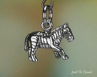Sterling Silver Zebra Charm Africa Serengeti Zebras Small 3D Solid 925