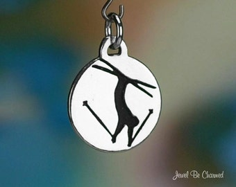 Sterling Silver Freestyle Skiing Charm Ski Jump Jumper Solid .925