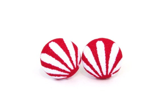 White red button earrings - tiny fern stud earrings - red leaf fabric earrings - spring earrings - stripes small